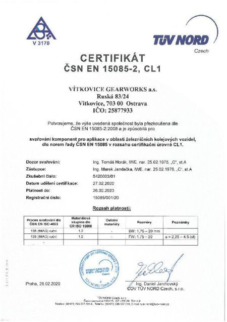 Certifikát- 15085-2 CZ