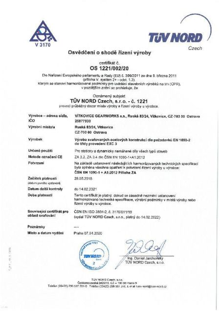 Certifikát - 15085-2 CZ2